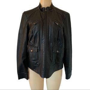 Style & Co Petite Large Faux Leather Bomber Jacket